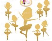 Silhouette Ballerina Clip Art Little Set Cliparts Cute girls Gold Golden ballerina illustration party ballet Digital elements pf00065-4