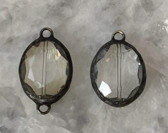"Large Soldered Crystal 1+1/4"" Pendant OR Connector, Oval, Champagne or Clear, Crystal Prism, Handmade"