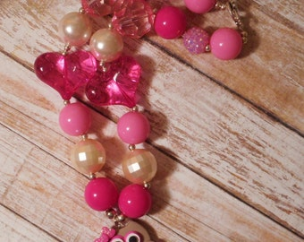 Owl Love You Clay with Gumball & Bling Beads Necklace
