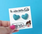 Heart Earrings - Polka dots - Blue and Pink