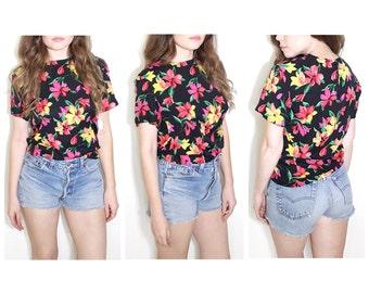 Vintage 80s blouse multi color bright floral blouse black floral print top size 4