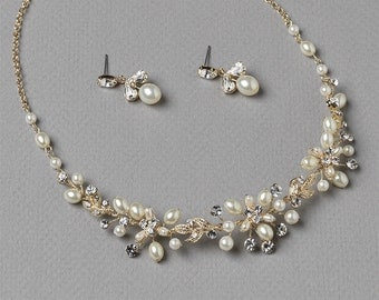 Delicate Gold & Fresh Water Pearl Bridal Jewelry Set, Wedding Necklace and Earring Set ~JS-1637-G