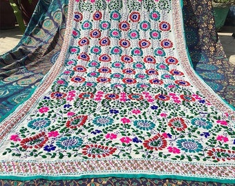 Hand embroidered Indian Shawl