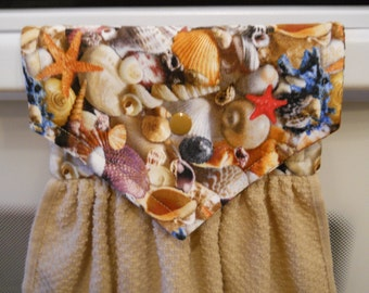 SEA SHELLS, lovely hanging towel with snap over top to conviently hang.