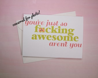 "Funny Greeting Card, Card for Friend, Congrats Card - ""So Awesome"""