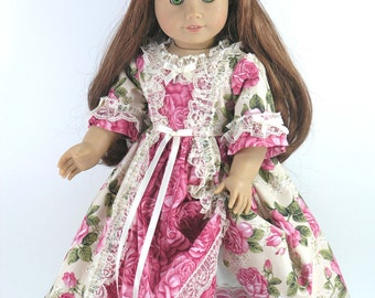 Handmade Doll Clothes for American Girl - 18 inch Dress, Pantalettes, Pinner Cap - Roses