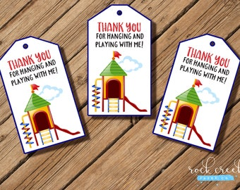 """Playground Party Thank You Hang Tags, birthday party, party favor, 2 x 3-1/2"""" each. INSTANT DOWNLOAD"""