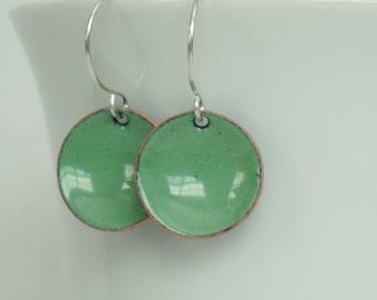Spring Green Enamel Earrings - Enamel Jewelry, Minimalist Jewelry, Minimalist Earrings, Simple Earrings, Dot Earrings, Boho Jewelry Earrings