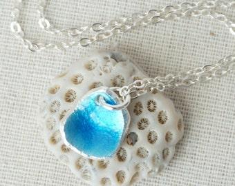 Blue Enamel on Recycled Fine Silver Pendant - Enamel Jewelry, Enamel Necklace, Recycled Silver Jewelry