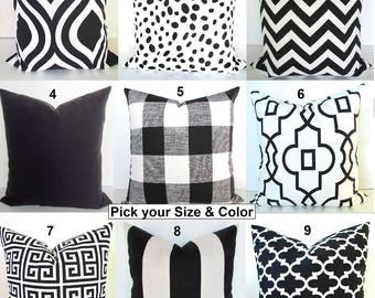 BLACK Pillows Black Throw Pillow Covers Ikat Black Decorative Pillow Covers Euro Shams 16 18 24x24 All Sizes. Home Decor Say it with Pillows