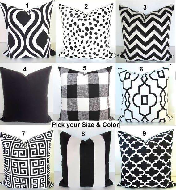 Items similar to BLACK Pillows Black Throw Pillow Covers Ikat Black Decorative Pillow Covers ...