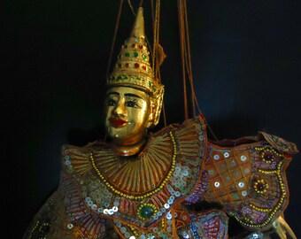 Vintage Marionette Asian dancer hand beaded costume vintage puppet indonesian costume burmese marionette