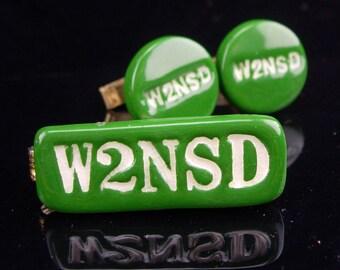 Ham radio cufflinks / Vintage cufflinks / w2nsd radio /Wayne S. Green II / green cufflinks / retro jewelry