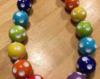Little Girls Rainbow Polka Dot Necklace Little Girls Chunky Polka Dot Necklace Little Girls Bubble Gum Beads Necklace Rainbow Beads Necklace