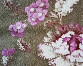 Vintage Mid-Century Barkcloth Custom Made Pillow Cover Vintage Velvet Back