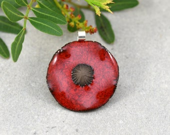 Poppy pendant in ceramic, handmade on sterling silver bail