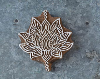 Lotus stamp hand carved wood block textile art stencil flower wooden fabric printing traditional Indian Henna spiritual craft