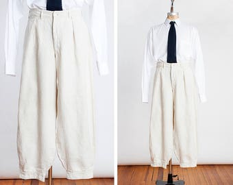 AUTHENTIC 1920s Ivory Linen Baggy Plus Fours Knickers // Golf // Sporting Breeches // Great Gatsby // Art Deco