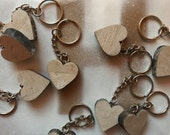 Rustic Wooden Heart Keyring  for an Anniversary Valentines Wedding favour or party bag