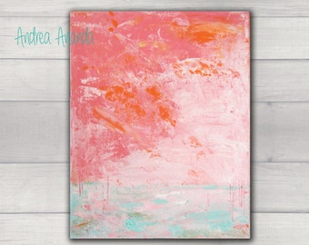 Original Fine Art Acrylic Painting Abstract Landscape Wall Art Medium Canvas 14 x 11 inches pink blush modern decor palette knife office