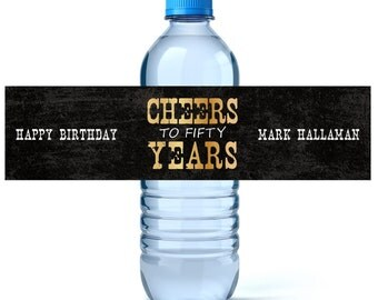 Custom Water Labels - Birthday Water Label - Milestone Birthday - 50th Birthday - 40th Birthday - Water Bottle Wraps - Water Bottle Label