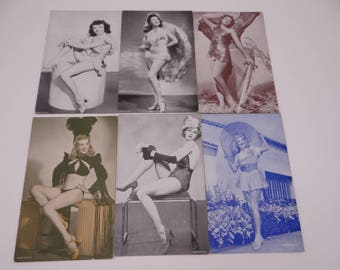 1940s Vintage Set of 6 Risque Pin Up Girl Postcards