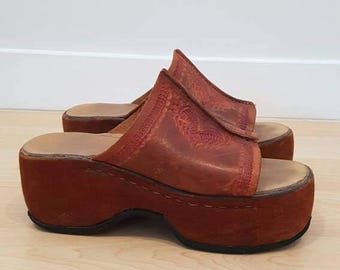 Hand made in Barcelona. Open toe clogs. Size womens 7/8.