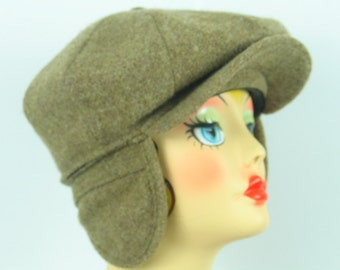 1970's Cabbie Newsboys Cap 'Minnesota Hats'  Ear Flaps Brown Tweed Men's Medium Thinsulate Lined Warm Fun in excellent vintage condition.