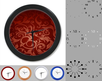 Damask Wall Clock, Abstract Floral Design, Artistic Swirl, Customizable Clock, Round Wall Clock, Your Choice Clock Face or Clock Dial