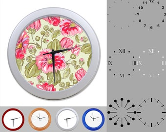 Old Fashioned Floral Wall Clock, Mix Flower Design, Pink Flowers, Customizable Clock, Round Wall Clock, Your Choice Clock Face or Clock Dial