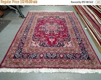 SPRING SALE 1970s Hand-Knotted Mashad Persian Rug (3311)