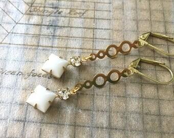Vintage Rhinestone Earrings | White and Crystal