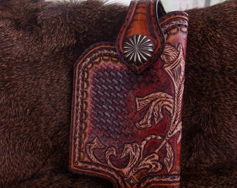 Hand Made Leather Smartphone Case  IPhone 7s/7 Plus and 6s/6 Plus IPhone  Smart Phone Holster Made to Fit Protective Case
