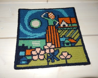 Swedish hand embroidered wall hanging 1970 s / the fishermans wife is waiting....