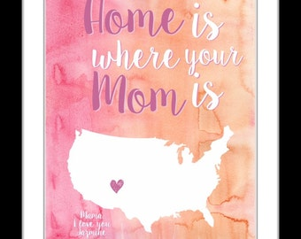Mothers day gifts for mom from daughter, gift for mom, mother daughter gift, personalized mothers day gift, mom birthday gift, unique map