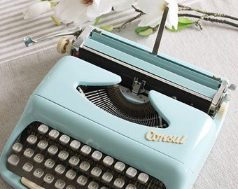 Consul Baby blue retro portable small working typewriter with case , made in Czechoslovakia