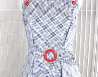 1940s BACKLESS  Blue Plaid Cotton Wrap Around Dress with Matching Bolero Jacket ........  size 2-4 / X-Small