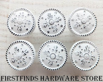 6 White Knobs Drawer Pulls Shabby Chic Kitchen Handles Cabinet Hardware Painted Metal Medium Door Cupboard Snowflakes ITEM DETAILS BELOW