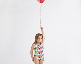 BALLOON (White): Girls tank swimsuit