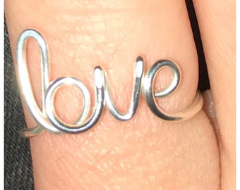 Love Script Ring, Adjustable, Any Finish