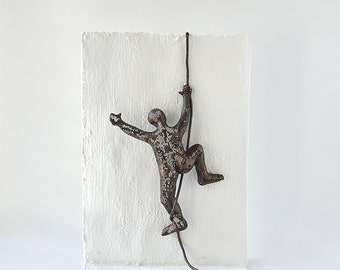 Climbing man on the wall, Metal wall art, Miniature metal sculpture, home decor, decorative art