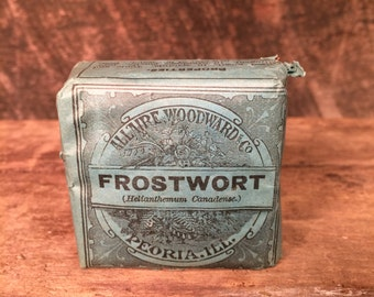 "Antique Allaire, Woodward & Co. ""Frostwort"" - Unopened Herb Box Early 1900s - Kitchen Accent Decoration Oddity Curiosity"