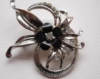 Vintage 1990s Brooch Pin Ornate Glittering Diamantes and Black Enamel