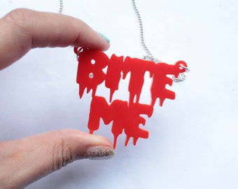 Bite Me Red Necklace in Acylic Large Size