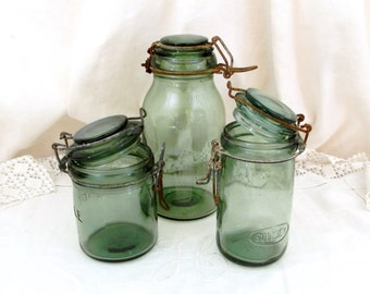 Antique French Green Glass Canning Jar SOLIDEX 1/2 Liters / 1 Pint, French Country Decor, Mason Jar, Preserve, Jam, Green Bottle, Jam