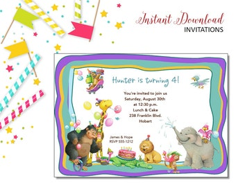 Party Animals Invitation | Kids Birthday | Printable Editable Digital PDF File | Instant Download | KBI149DIY