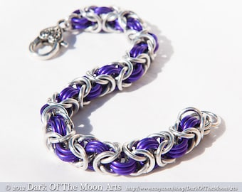 Purple & Silver Byzantine Weave Chain Maille Bracelet With Silver Celtic Heart Clasp