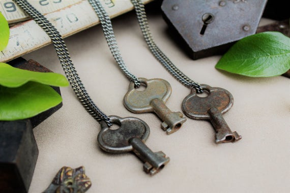 Victorian Padlock Key Necklace | Gunmetal Steel or Antique Brass Chain | Skeleton Keys | Customize | Custom | Hand-Stamped | Limited #'s!