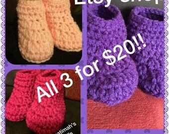 3 Crochet baby booties!!
