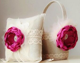 Flower Girl Basket,  Ring Bearer Pillow,  Wedding,  Fuchsia Flower Girl Basket,  Vintage Flower Girl Basket and Ring Bearer Pillow